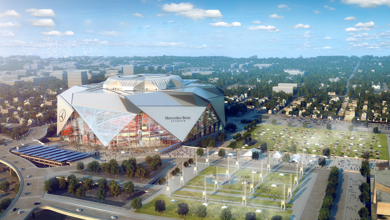 Mercedes benz stadium super cool super green future home for Mercedes benz arena atlanta