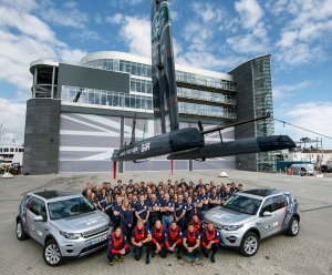 The complete Land Rover BAR team at their new home in Portsmouth