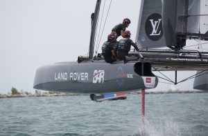 Chicago IL. USA. 12th June 2016. The Louis Vuitton America's Cup World Series. LandRover BAR the British America's Cup team skipperd by Ben Ainslie. Shown here celebrating taking 2nd place in the event (Photo by Lloyd Images)