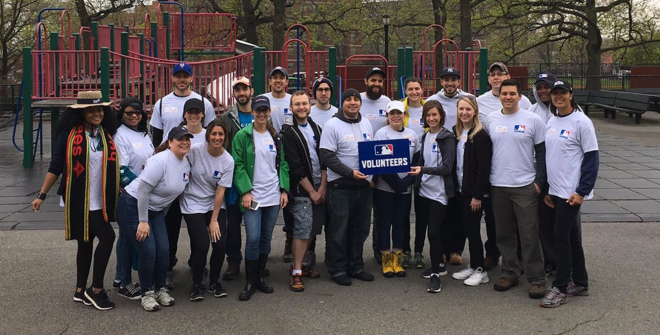 mlb volunteers ny cares day