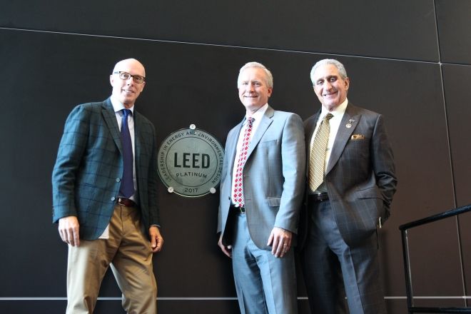 LEED Platinum Certification Event - from right - Rich McKay, Scott Jenkins, Arthur Blank