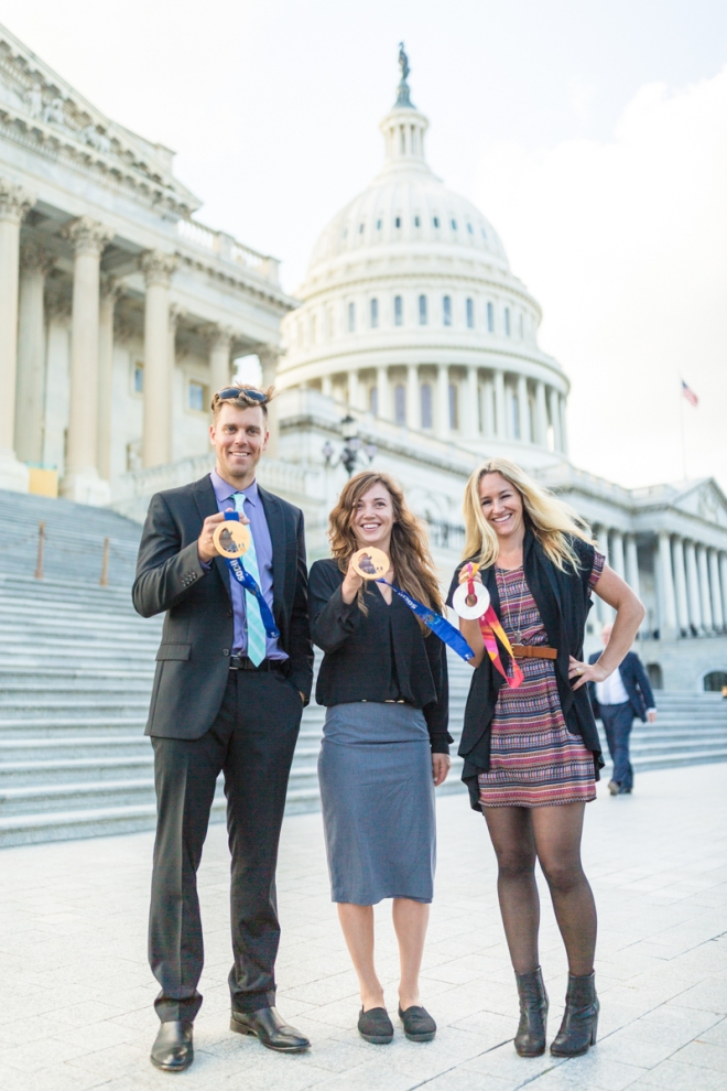 Alex Deibold, Gretchen Bleiler, Kaitlyn Farrington on POW_s September 2017 Lobby Trip to Washington DC Forest Woodward Athletes