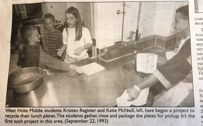 Catherine Kummer Recycling at West Hoke Middle School cafe 1993