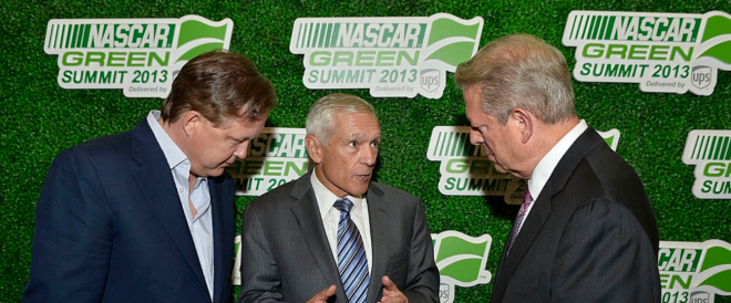 CEO Brian France (L) and former U.S. Vice President Al Gore at the NASCAR Green Summit on 2013Chicago Brian Kersey NASCAR Getty