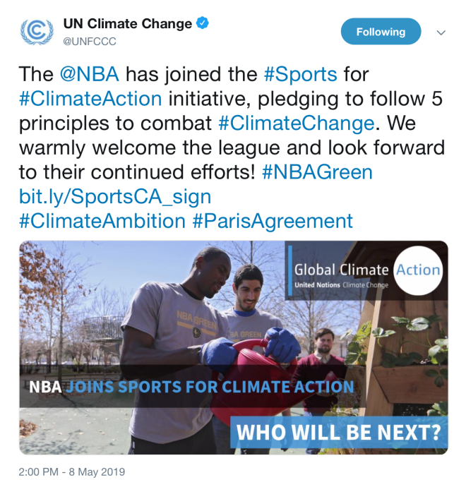 c8bd366e8e2 The UNFCCC s tweet announcing that the NBA signed on to the Sports for  Climate Action Framework